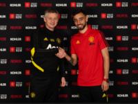 Manchester Unitedi peatreener Ole Gunnar Solskjär (vasakul) ja Bruno Fernandes.